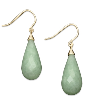 14k Gold Earrings, Jade Teardrop Earrings