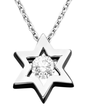 Effy Collection Diamond Necklace, 14k White Gold Diamond Star Of David Pendant (1/5 ct. t.w.)