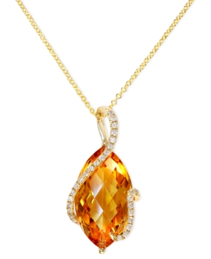 Gemma by EFFY 14k Gold Necklace, Citrine (8-1/2 ct. t.w.) and Diamond (1/8 ct. t.w.) Marquise Wrap Pendant