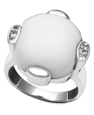Sterling Silver Ring, White Agate (15x15mm) and White Topaz (1/10 ct. t.w.) Ring