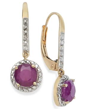 10k Gold Earrings, Ruby (1-1/4 ct. t.w.) and Diamond Accent Leverback Earrings