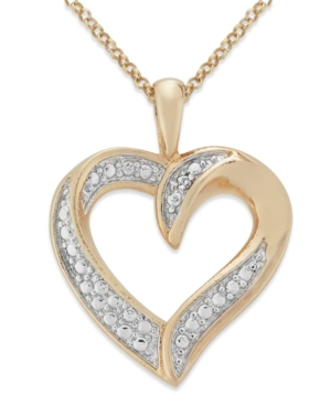 Victoria Townsend Diamond Necklace, 18k Rose Gold over Sterling Silver Diamond Heart Pendant (1/10 ct. t.w.)