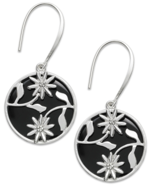 Sterling Silver Earrings, Onyx Disc Drop Earrings (15 ct. t.w)