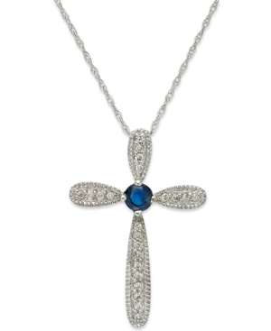 10k White Gold Necklace, Sapphire (1/6 ct. tw.) and Diamond Accent Cross Pendant (1/4 ct. t.w.)