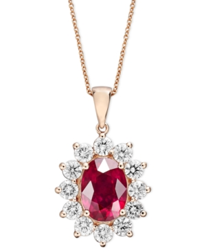Royalty Inspired by Effy 14k Rose Gold Necklace, Ruby (3-3/4 ct. t.w.) and Diamond (1-3/4 ct. t.w.) Oval Pendant