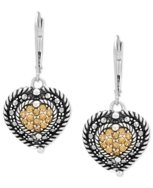 Genevieve & Grace Sterling Silver Earrings, Marcasite and Champagne Crystal Heart Leverback Earrings