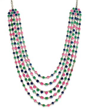 kate spade new york Necklace, Gold-Tone and Multi Cubetti Bib Necklace