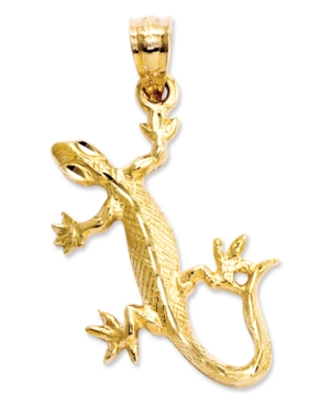 14k Gold Charm, Diamond-Cut Lizard Charm