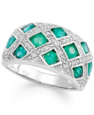 Sterling Silver Ring, Emerald (1-1/2 ct. t.w.) and Diamond (1/6 ct. t.w.) Woven Band