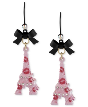 Betsey Johnson Earrings, Black-Tone Pink Eiffel Tower Drop Earrings