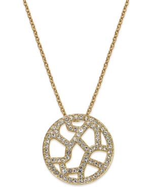Eliot Danori Necklace, 18k Gold-Plated Crystal Pave Openwork Pendant Necklace