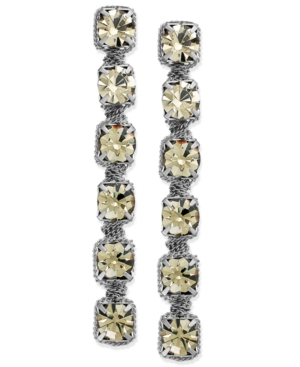 ABS by Allen Schwartz Earrings, Silver-Tone Rhinestone Linear Drop Earrings