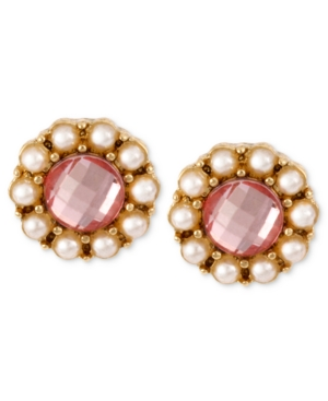 Betsey Johnson Earrings, Antique Gold-Tone Pink Crystal and Glass Pearl Stud Earrings