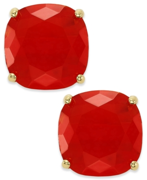 kate spade new york Earrings, Gold-Tone Red Square Stud Earrings