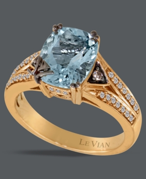 Le Vian 14k Rose Gold Ring, Aquamarine (2 ct. t.w.) and White and Chocolate Diamond Ring (1/5 ct. t.w.)