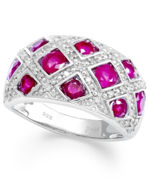 Sterling Silver Ring, Ruby (2 ct. t.w.) and Diamond (1/6 ct. t.w.) Woven Band