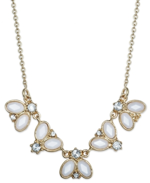 kate spade new york Necklace, Gold-Tone Cream Oval Stone Frontal Necklace