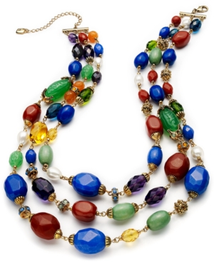 Lauren Ralph Lauren Necklace, Gold-Tone Colorful Bead Three-Row Necklace