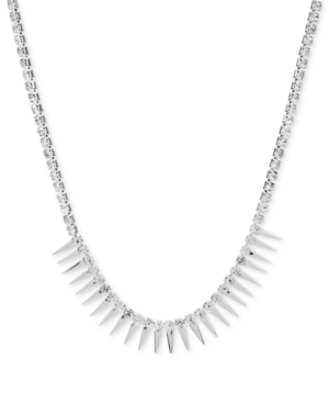 Steve Madden Necklace, Silver-Tone Spike Frontal Necklace