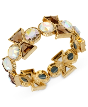 Betsey Johnson Bracelet, Antique Gold-Tone Topaz and Clear Crystal Bow Stretch Bracelet