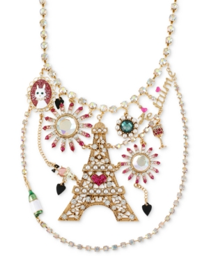 Betsey Johnson Necklace, Antique Gold-Tone Eiffel Tower Multi-Charm Bib Necklace