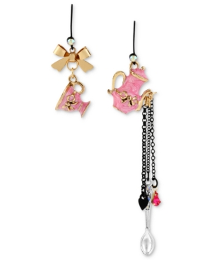 Betsey Johnson Earrings, Black-Tone Pink Teapot and Cup Mismatch Linear Earrings