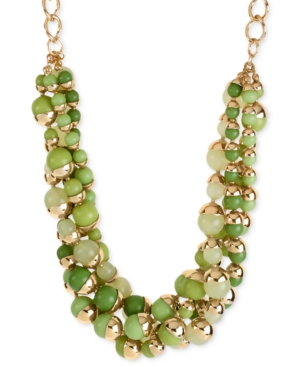 Haskell Necklace, Gold-Tone Green Bead Multi-Row Necklace