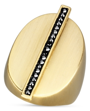 Glitterrings Ring, 14k Gold-Plated Jet Hematite Crystal Bar Large Oval Ring