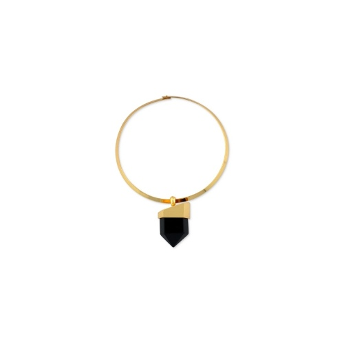 Vince Camuto Necklace, Gold-Tone Black Spike Stone Pendant Collar Necklace