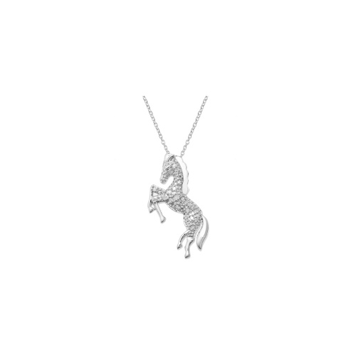 Diamond Necklace, Sterling Silver Diamond Horse Pendant (1/10 ct. t.w.)