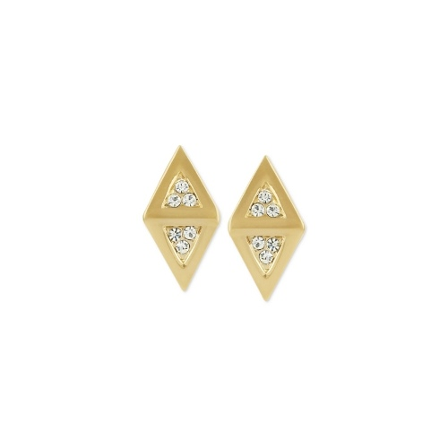Roman Luxe Earrings, 14k Gold-Plated Diamond-Shaped Crystal Pave Stud Earrings