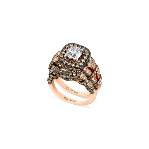 Le Vian 14k Rose Gold Ring Set, White Diamond (1-3/8 ct. t.w.) and Chocolate Diamond (2-1/5 ct. t.w.) Engagement Ring Set
