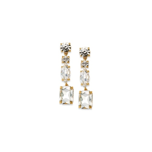kate spade new york Earrings, Gold-Tone Clear Stone Linear Drop Earrings
