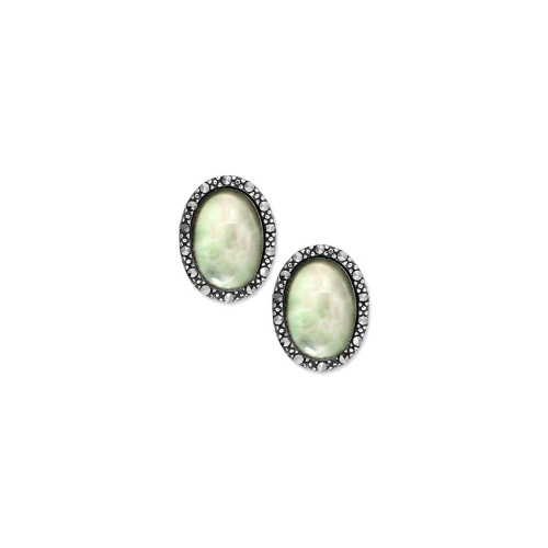 Genevieve & Grace Sterling Silver Earrings, Marcasite and Gray Shell Oval Earrings (1-1/5 ct. t.w.)