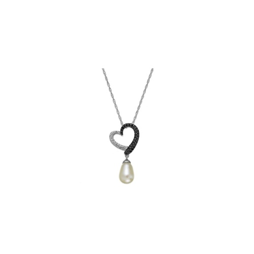 Sterling Silver Necklace, Cultured Freshwater Pearl (7mm x 10mm) and White and Black Diamond (1/4 ct. t.w.) Heart Pendant