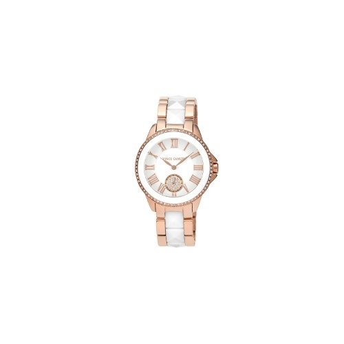 Vince Camuto Watch, Women's White Ceramic Pyramid Stud and Rose Gold-Tone Stainless Steel Bracelet 38mm VC-5046WTRG