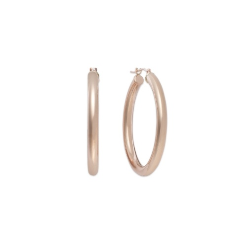 14k Gold Earrings, Large Polished Hoop Earrings