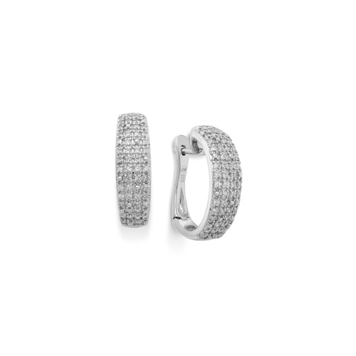 Diamond Earrings, Sterling Silver Diamond Pave Hoop Earrings (1/2 ct. t.w.)