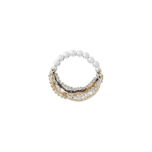 Nine West Bracelet, Tri-Tone Chain Beaded Stretch Bracelet