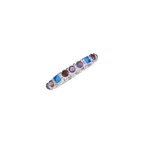Nine West Bracelet, Silver-Tone Purple and Blue Stone Stretch Bracelet