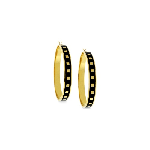 Vince Camuto Earrings, Gold-Tone Square and Black Enamel Hoop Earrings