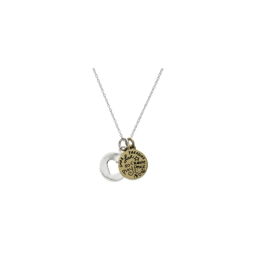 "Unwritten Two-Tone Necklace, Heart Cutout and ""Live Laugh Love"" Charm Pendant"