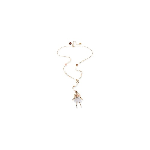 Betsey Johnson Necklace, Antique Gold-Tone Angel Skull Pendant Long Y-Shaped Necklace