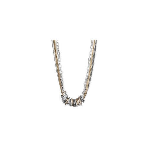 Nine West Necklace, Tri-Tone Pave Rondelle Multi-Chain Necklace