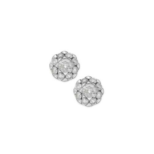 Diamond Earrings, 14k White Gold Flower Stud Earrings (1/4 ct. t.w.)