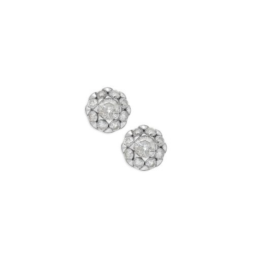Diamond Earrings, 14k White Gold Flower Stud Earrings (1/2 ct. t.w.)