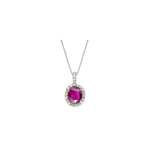 14k White Gold Necklace, Ruby (2-1/3 ct. t.w.) and Diamond (1/3 ct. t.w.) Oval Pendant