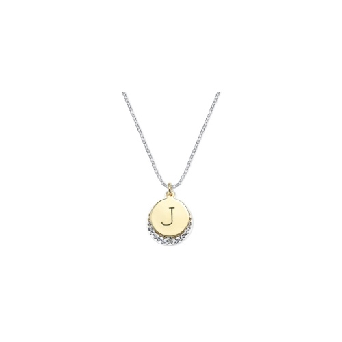 14k Gold and Silver Plated Necklace, Crystal J Pendant