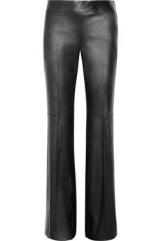 Leather and wool-blend pants