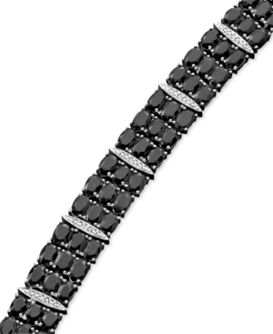 Sterling Silver Bracelet, Black Sapphire (50 ct. t.w.) and Diamond Accent